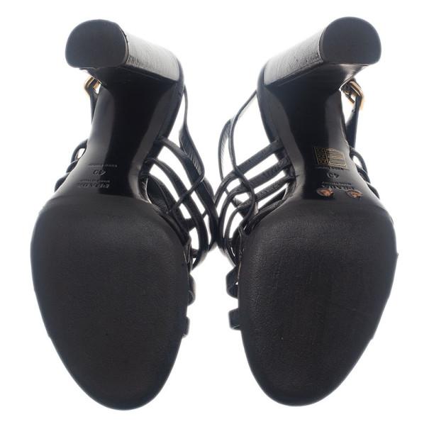 Prada Black Leather Strappy Slingback Sandals Size 40
