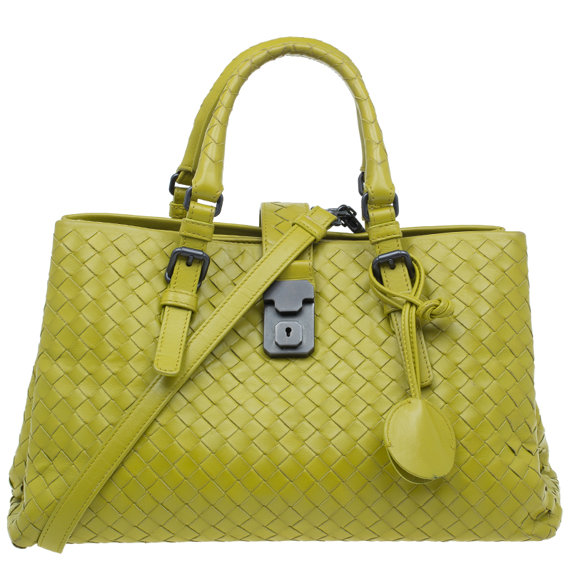 Bottega Veneta Lime Green Intrecciato Woven Leather Small Roma Tote Bag
