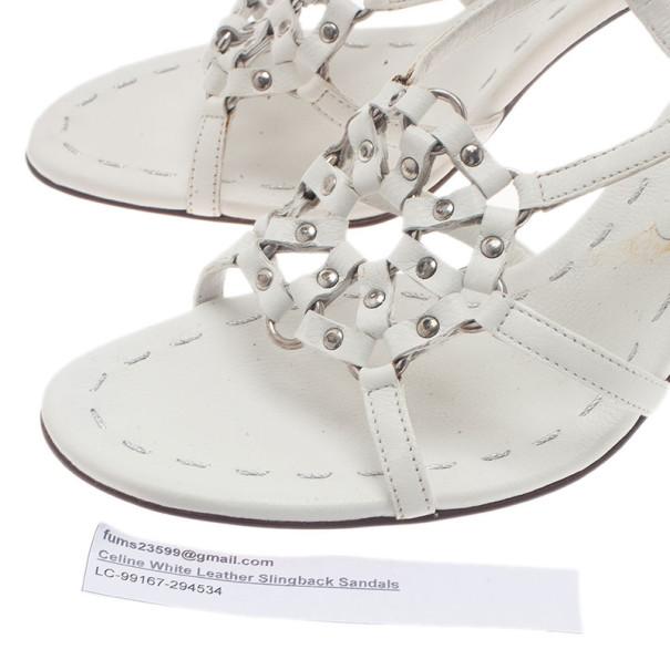 Celine White Leather Slingback Sandals Size 39.5