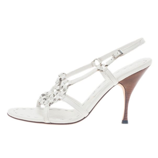 Celine White Leather Slingback Sandals Size 39.5