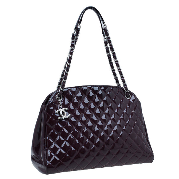 Chanel Plum Patent Leather Large Mademoiselle Bag