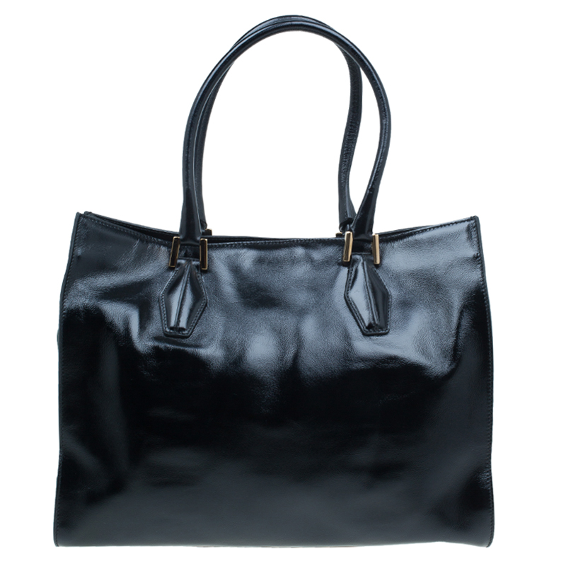 Tod's Black Glazed Leather Medium Shopping Tote Bag