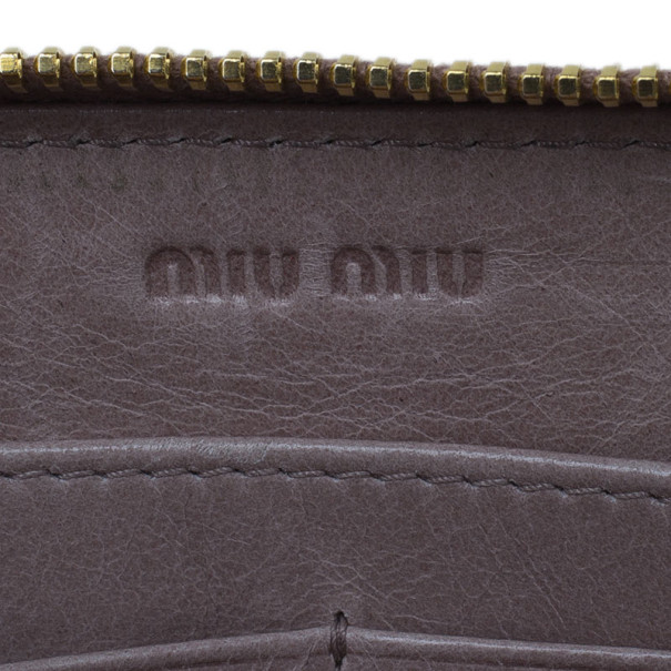 Miu Miu Pink Matelasse Zip-Around Wallet