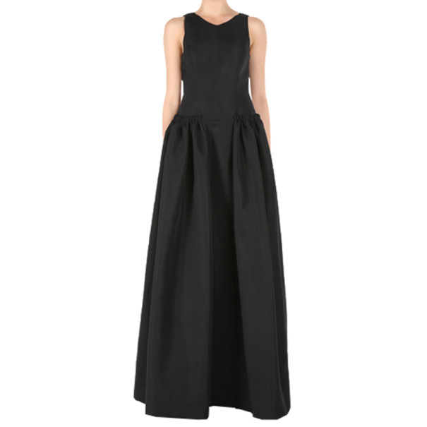 Christian Siriano Black Silk Sleeveless Gown M