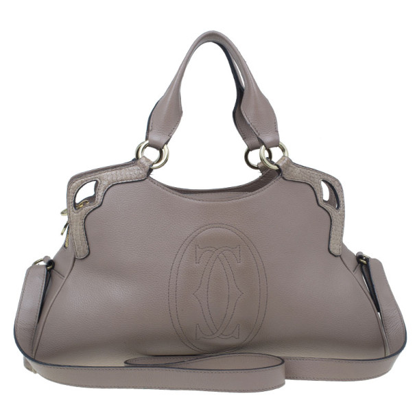 Cartier Beige Calfskin Small Marcello De Cartier Hobo