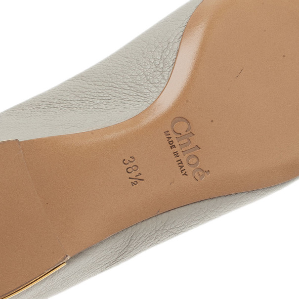 Chloe Grey Leather Pointed Flats Size 38.5