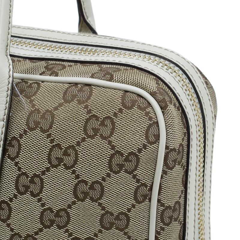 Gucci Beige/White Canvas Signature GG Britt Boston Bag