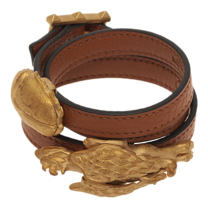 Valentino Scarab And Gryphon Brown Leather Double Wrap Bracelet