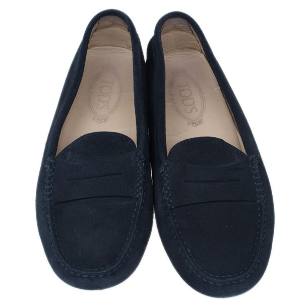 Tod's Black Suede Gommini Moccasin Driving Loafers Size 40