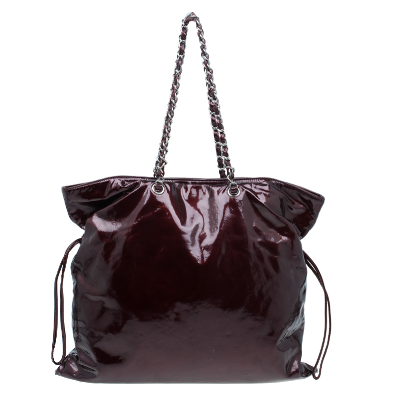 Chanel Burgundy Patent Leather Bon Bon Tote Bag