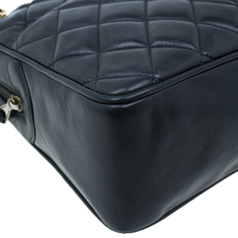 Chanel Black Lambskin Quilted Camera Bag