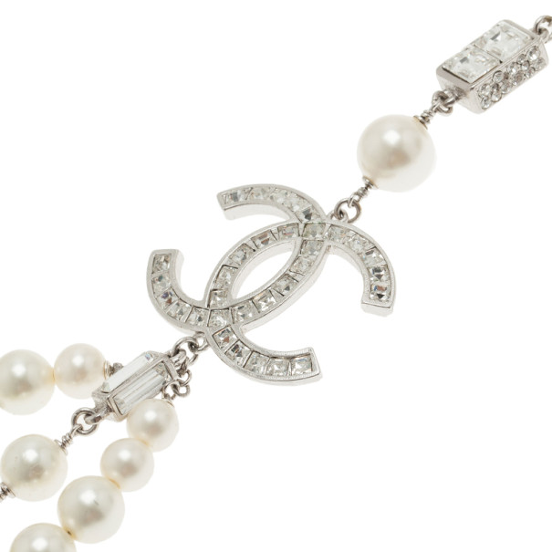 Chanel Pearl Crystal Bow Necklace Belt