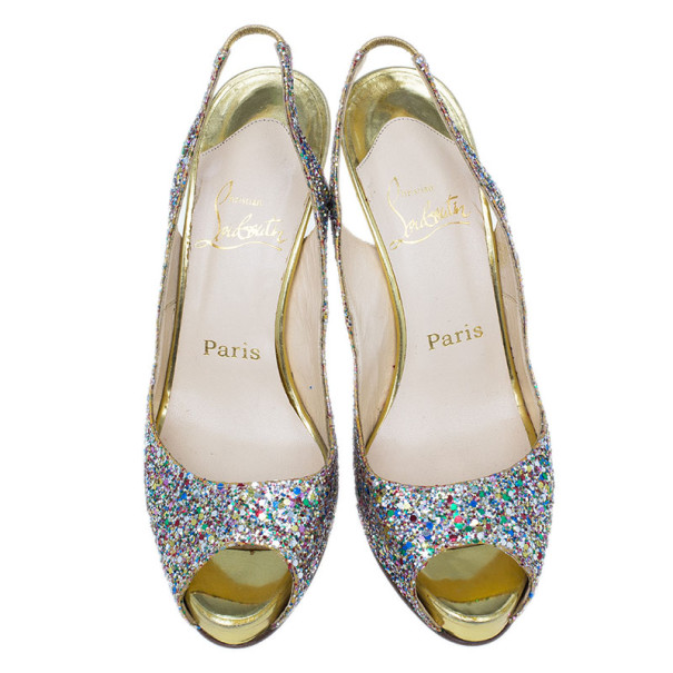 Christian Louboutin Multicolor Glitter N°Prive Slingback Sandals Size 38