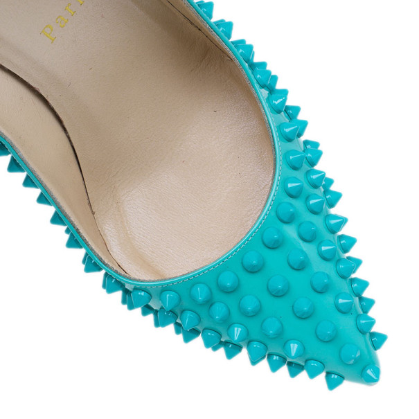 Christian Louboutin Turquoise Patent Pigalle Spikes Pumps Size 38