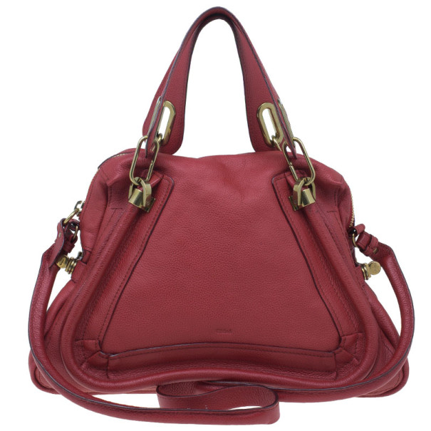 Chloe Red Leather Small Paraty Hobo