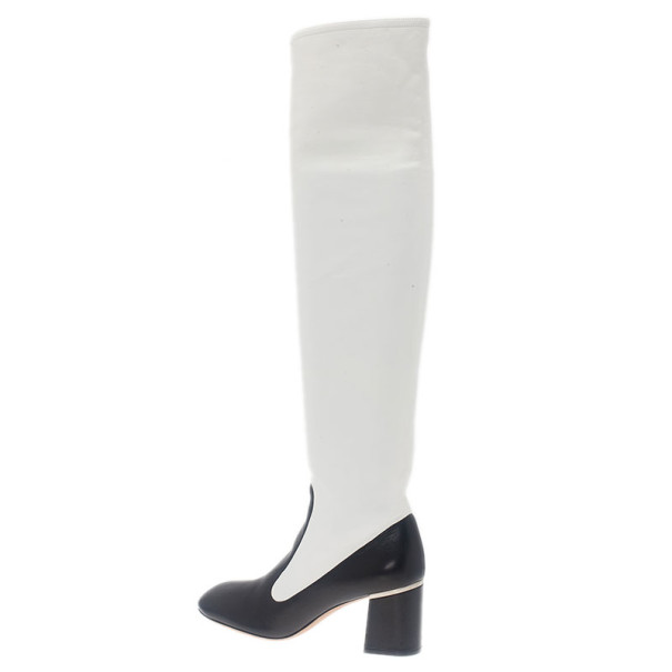 Celine Two Tone Leather Over The Knee Boots Size 38.5
