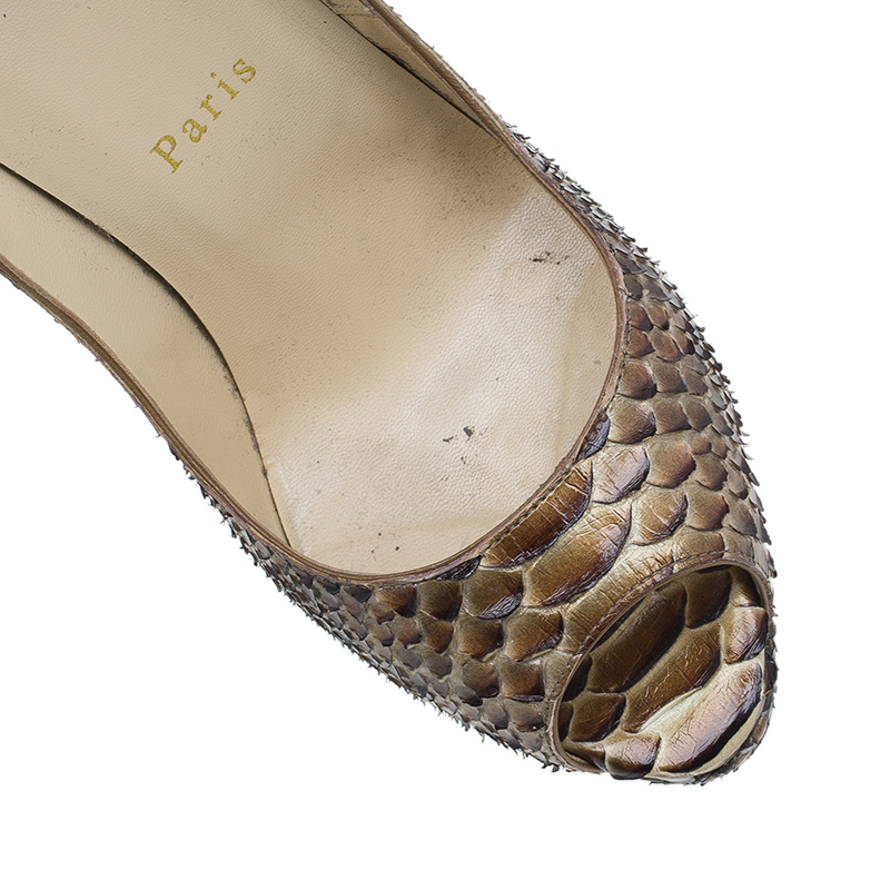 Christian Louboutin Bronze Metallic Python Lady Peep Toe Platform Pumps Size 37
