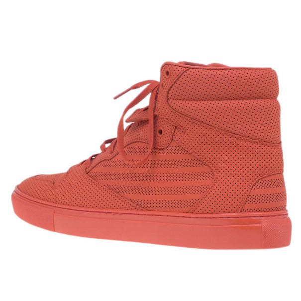 Balenciaga Red Perforated High Top Sneakers Size 45