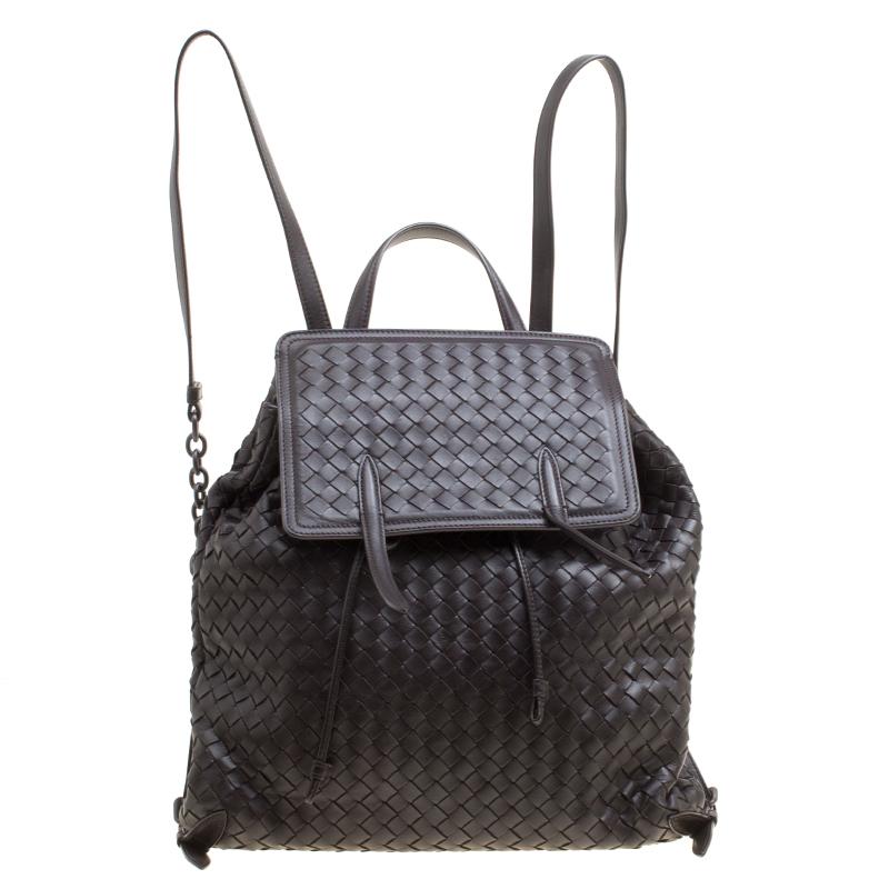 Купить со скидкой Bottega Veneta Dark Brown Intrecciato Leather Drawstring Flap Backpack