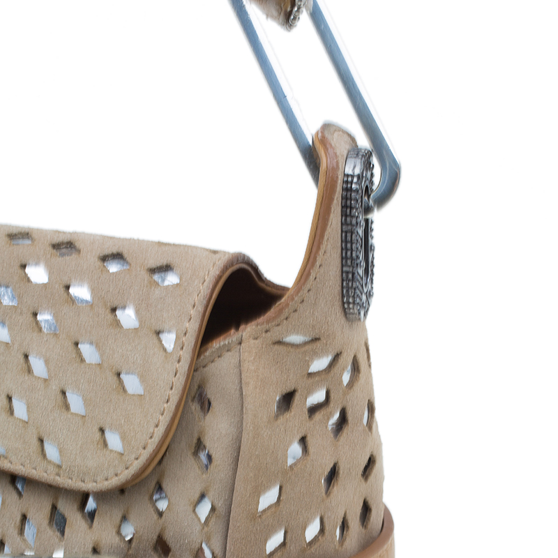 Jimmy Choo Beige Perforated Suede Tulita Satchel Bag