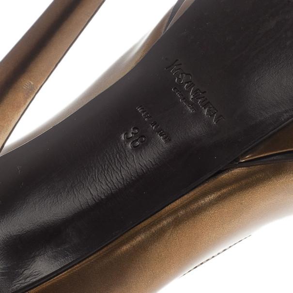 Saint Laurent Paris Bronze Metallic Leather 'Tribute 105' Platform Pumps Size 38