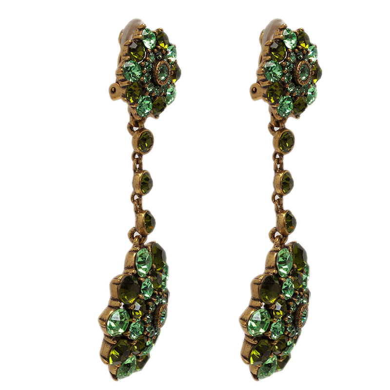 Oscar de la Renta Jeweled Green Crystal Clip On Earrings