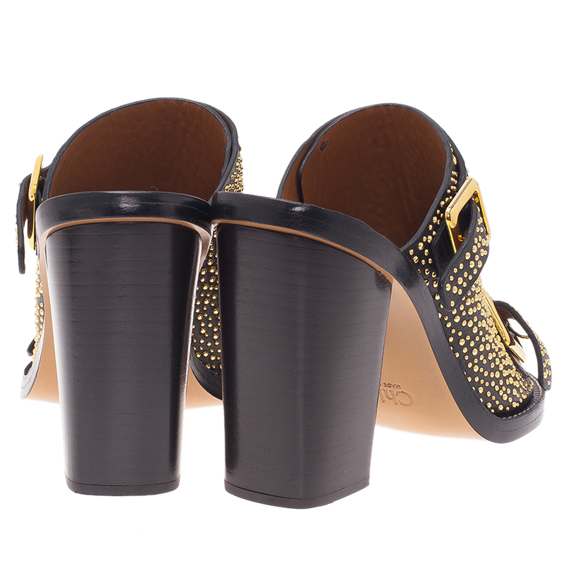 Chloe Black Studded Leather Buckle Mules Size 39