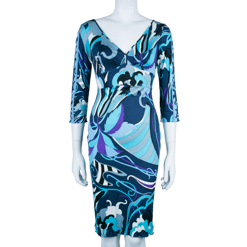 Emilio Pucci Abstract Print Midi Dress S