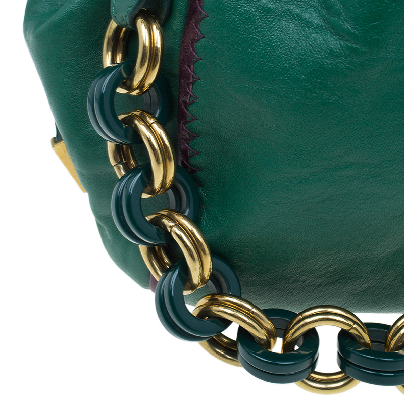 Marc Jacobs Green Leather Safety Pin Stam Satchel