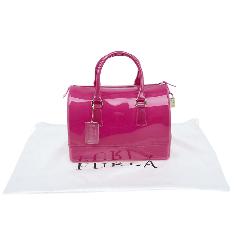Furla Pink Glossy Rubber Candy Satchel Bag