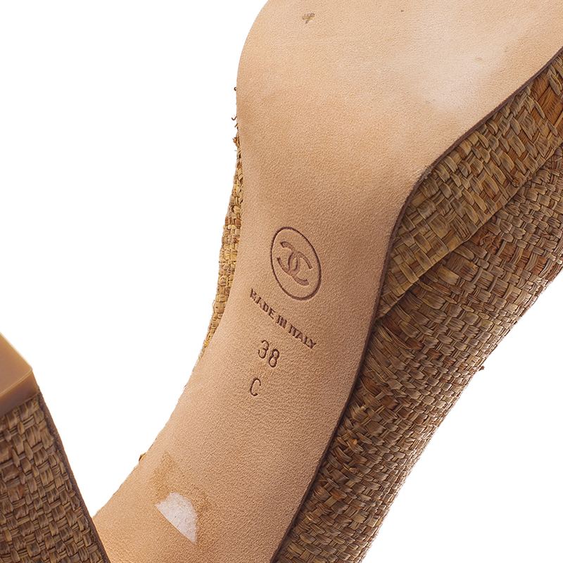 Chanel Beige and Red Woven Strap Platform Pumps Size 38