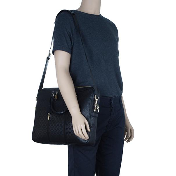 Gucci Black Guccissima Leather Laptop Bag