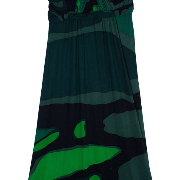Issa Green Printed Satin Jersey Maxi Dress M