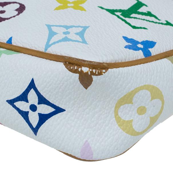 Louis Vuitton White Multicolored Monogram Canvas Pochette Accessoires