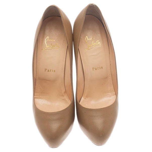 Christian Louboutin Beige Leather Miss Clichy Pumps Size 39