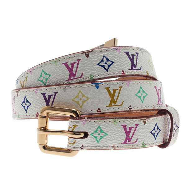 Louis Vuitton White Multicolor Monogram Canvas Skinny Belt 80CM