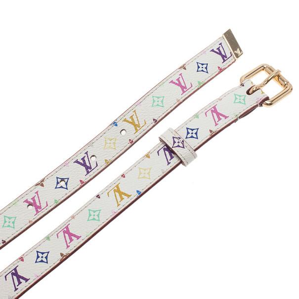 Louis Vuitton White Multicolor Monogram Canvas Skinny Belt 80CM