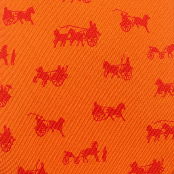 Hermes Orange Signature Horse Logo Print Tie