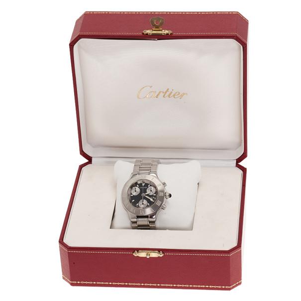 Cartier Black Stainless Steel 21 Must de Cartier Chronoscaph Women's Wristwatch 38MM