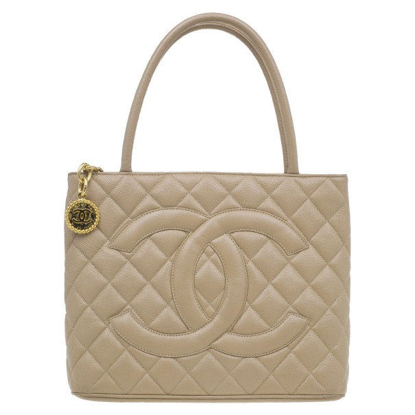 Chanel Beige Quilted Lambskin Medallion Tote