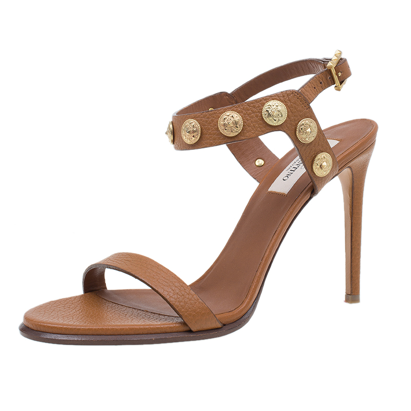 Valentino Brown Gryphon Coin Studded Leather Ankle Strap Sandals Size 39