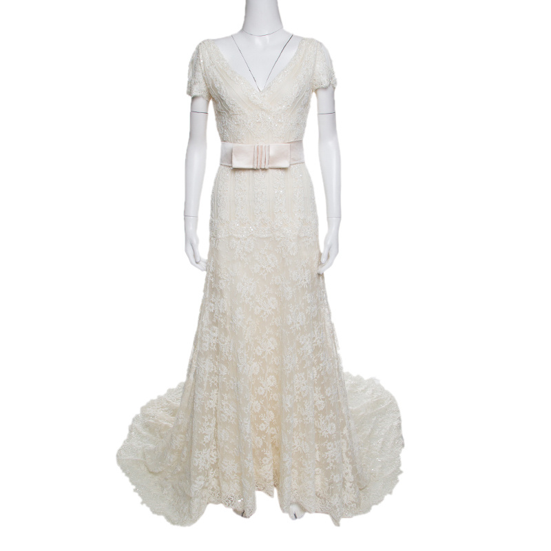 Valentino Sposa Cream Floral Beaded Lace Hesperides Sheath Wedding ...