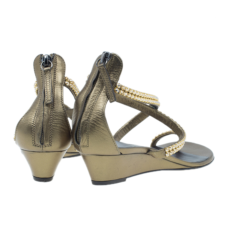Giuseppe Zanotti Bronze Embellished Toe Ring Wedge Sandals Size 37