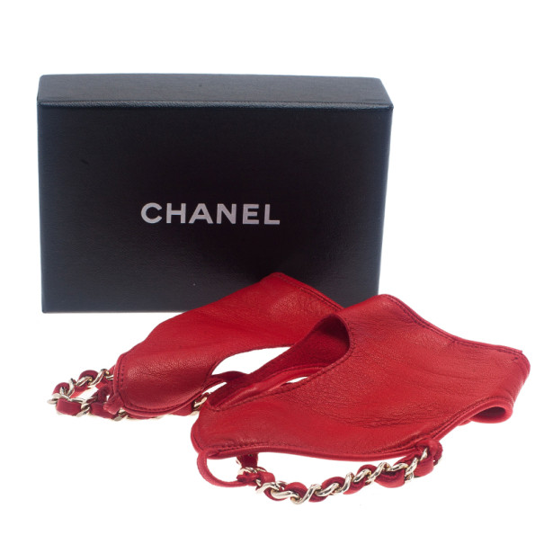 Chanel Red Leather Chain Fingerless Gloves