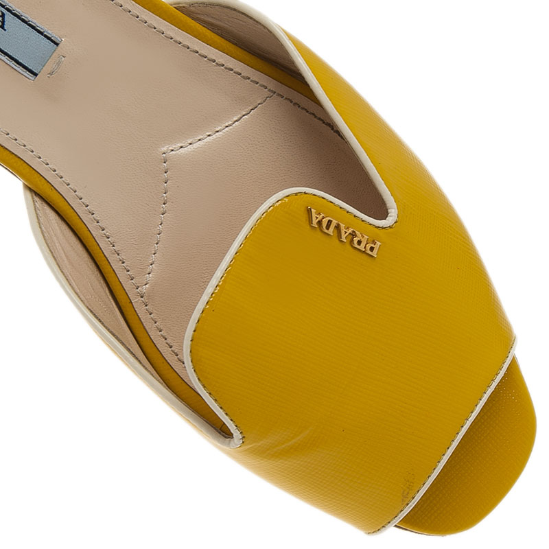 Prada Yellow Saffiano Leather Flat Slides Size 39