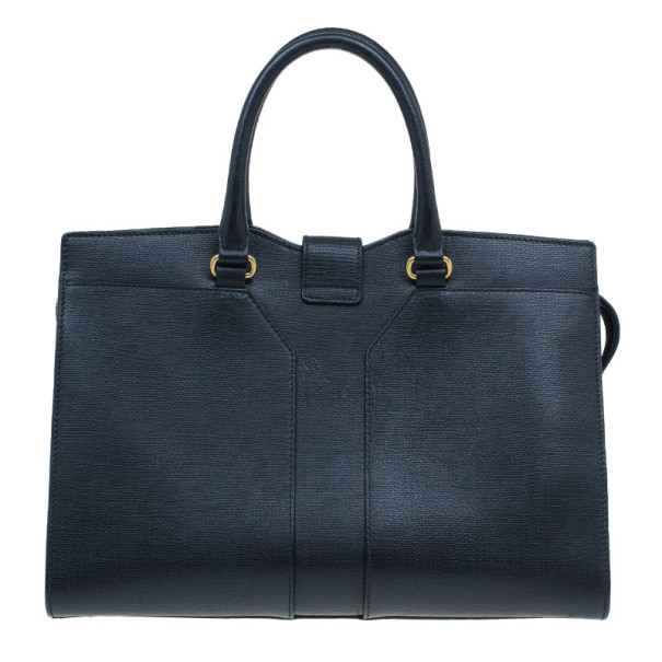 Saint Laurent Black Leather Medium Cabas Chyc Tote