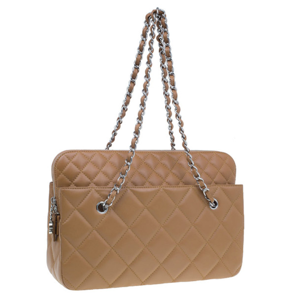 Chanel Brown Quilted Leather Vintage Tote