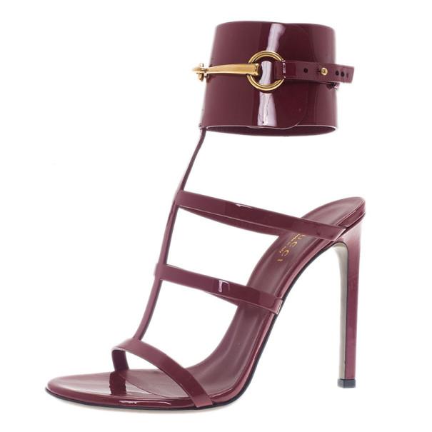Gucci Raspberry Patent Ursula Gladiator Sandals Size 37.5