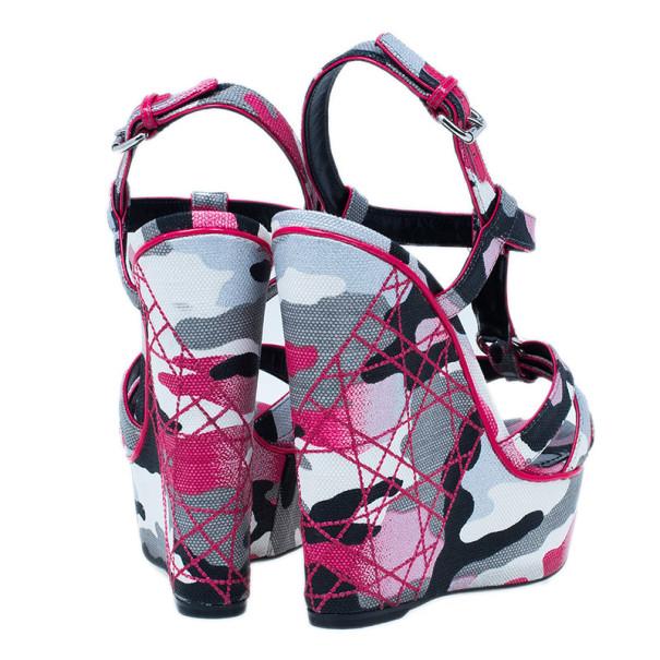 Dior Pink Camouflage Canvas Anselm Reyle Platform Wedge Sandals Size 39