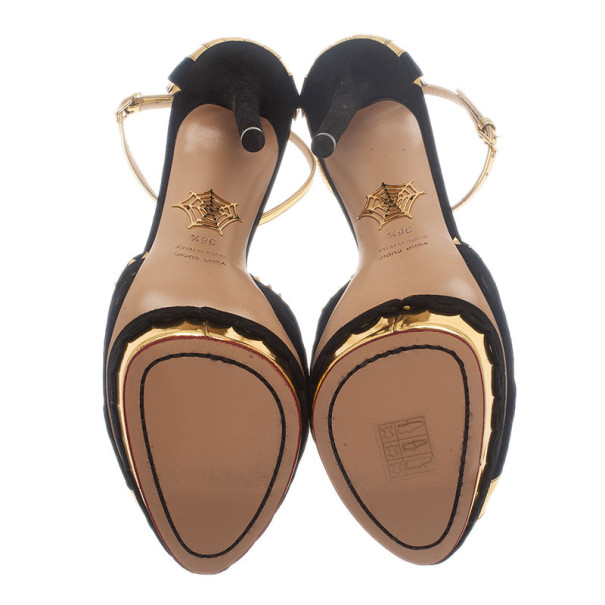 Charlotte Olympia Sunset Metallic Leather and Suede Platform Sandals Size 38.5